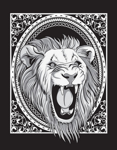 Vector Frame With Lion Head Vintage T-shirt Design