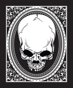 Vector Frame With Skull Retro T-shirt Design