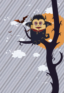 Vector Funny Background With Vampire