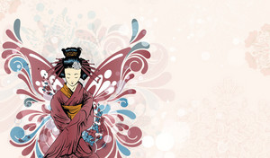 Vector Geisha With Floral