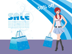 Vector Girl Holding Shopping Bag