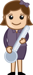 Vector Girl Holding Thermometer