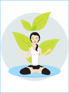 Vector Girl In Yoga Pose