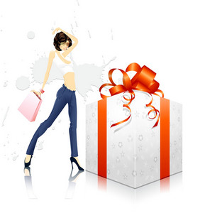 Vector Glamour Girl With Gift Box