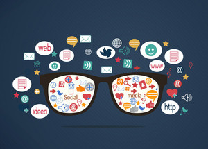 Vector Glasses With Social Icons