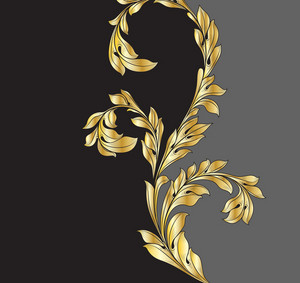 Vector Gold Vintage Floral Background