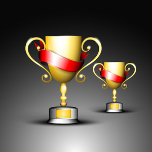 Vector Golden Trophy With Red Ribbon