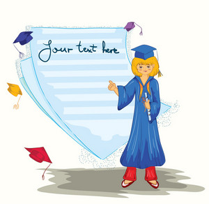 Vector Graduated Girl With Blank Page