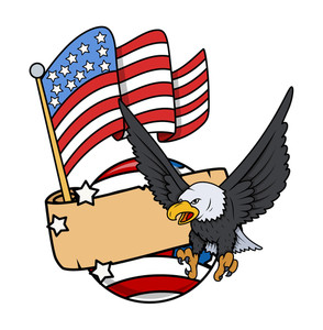 Vector Graphic Eagle With Usa Globe And Flag Banner