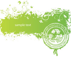 Vector Green Background With Stamp