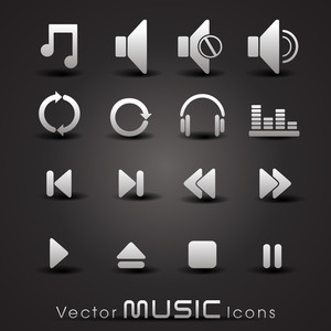 Vector Grey Music Icons