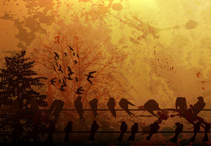 Vector Grunge Autumn Background With Birds