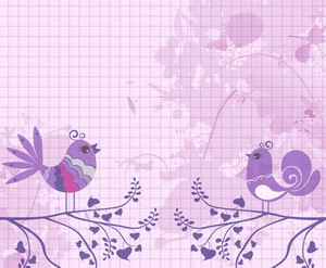 Vector Grunge Background With Abstract Birds