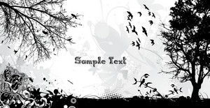 Vector Grunge Background With Birds