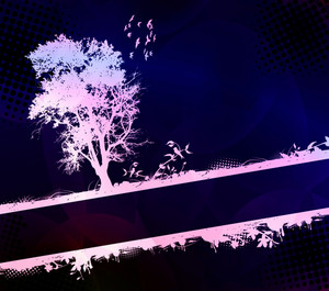 Vector Grunge Background With Tree