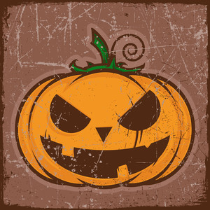 Vector Grunge Card With Cartoon Pumpkin. Vector Illustration.