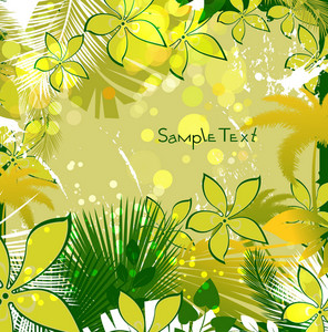 Vector Grunge Colorful Summer Floral Background