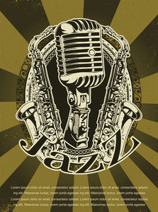Vector Grunge Concert Poster With Microphone And Saxophone