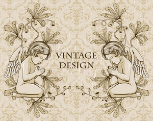 Vector Grunge Damask Background With Angels