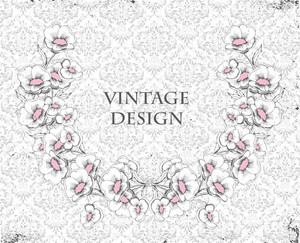 Vector Grunge Damask Background With Floral Frame