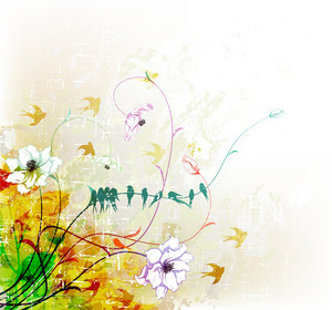 Vector Grunge Floral Background With Flock Of Birds