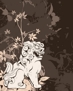 Vector Grunge Floral Background With Foo Lion