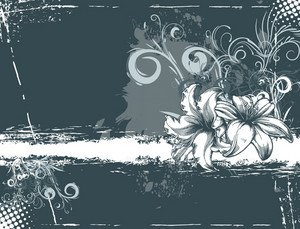 Vector Grunge Floral Background With Hibiscus