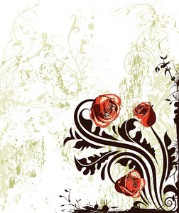 Vector Grunge Floral Background With Roses