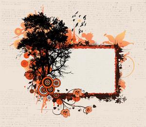 Vector Grunge Floral Frame