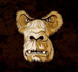 Vector Grunge Gorilla Face