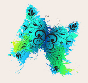Vector Grunge Illustration With Butterfly Made Of Floral