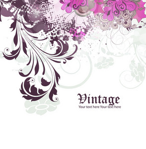 Vector Grunge Vintage Floral Background