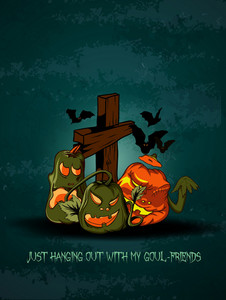 Vector Halloween Background With Cross