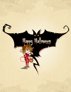 Vector Halloween Background With Girl In Costume
