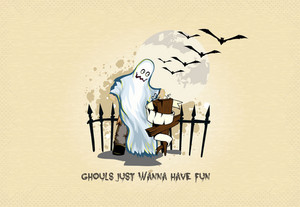 Vector Halloween Background With Gost