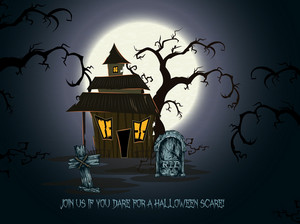 Vector Halloween Background With House