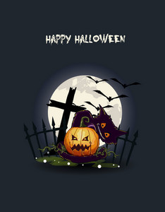 Vector Halloween Background With Pumpkin