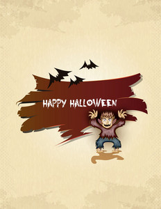 Vector Halloween Background With Werewolf