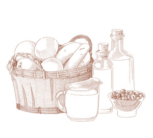 Vector Hand Drawn Food Ingredients