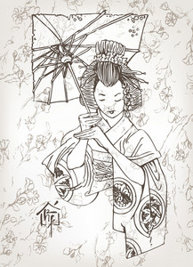 Vector Hand Drawn Geisha Japanese Illustration
