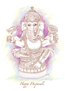 Vector Hand Drawn Hindu God Ganesh