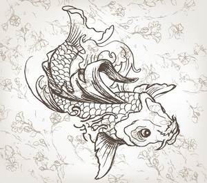Vector Hand Drawn Koi Fish Japanese Illustration
