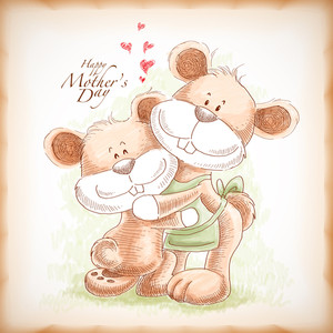 Vector Hand Drawn Mother And Son Teddy Bear