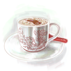 Vector Hand Drawn Retro Asian Coffee Cup