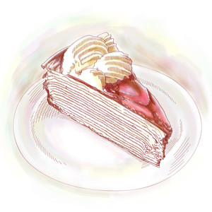 Vector Hand Drawn Slice Of Cake