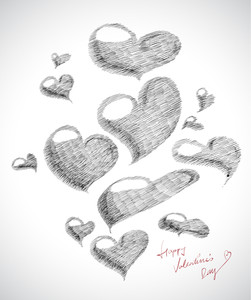 Vector Hand Drawn Valentine's Day Card Element