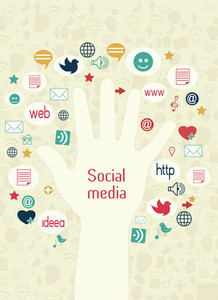 Vector Hand With Social Icons