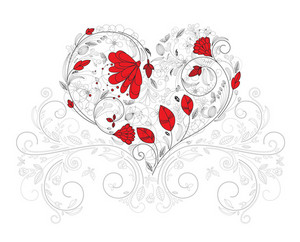 Vector Heart Made Of Floral