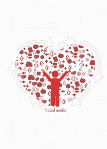 Vector Heart With Social Icons