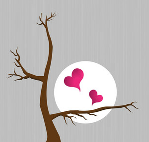 Vector Hearts With Tree